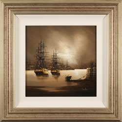 Alex Hill, Original oil painting on canvas, Moored in Mist