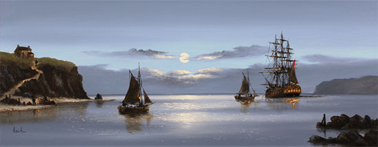 Alex Hill, Original oil painting on canvas, Moonlight Escape