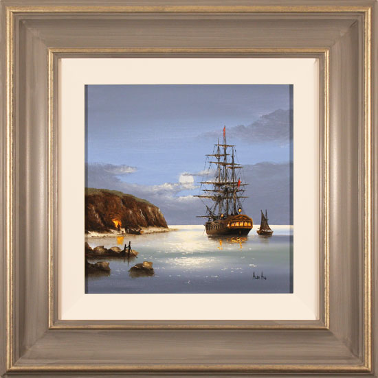 Alex Hill, Original oil painting on canvas, Evening Moorings
