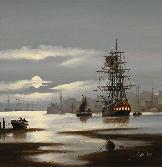 Alex Hill, Original oil painting on canvas, Moonlight Bay