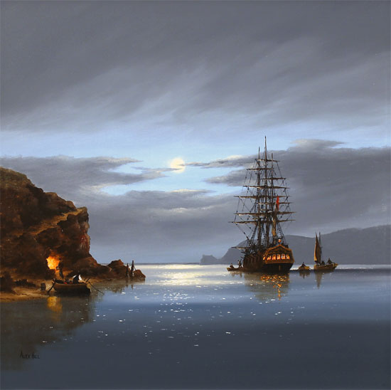 Alex Hill, Original oil painting on canvas, Moonlight Run No frame image. Click to enlarge