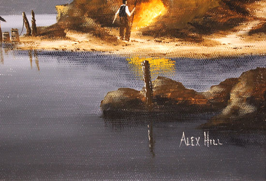 Alex Hill, Original oil painting on canvas, Anchor at Smuggler's Cove