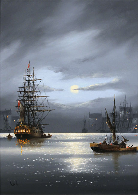Alex Hill, Original oil painting on panel, Moonlight Harbour