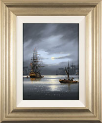 Alex Hill, Moonlight Harbour, Original oil painting on panel