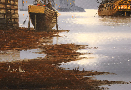 Alex Hill, Original oil painting on canvas, Moonlight Docks