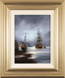 Alex Hill, Moonlight Docks, Original oil painting on canvas