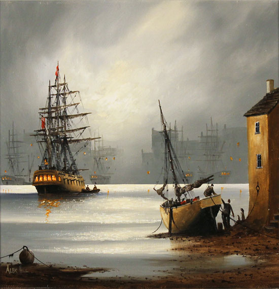 Alex Hill, Original oil painting on canvas, Moonlight Harbour Without frame image. Click to enlarge