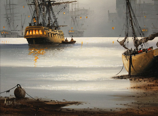 Alex Hill, Original oil painting on canvas, Moonlight Harbour Signature image. Click to enlarge