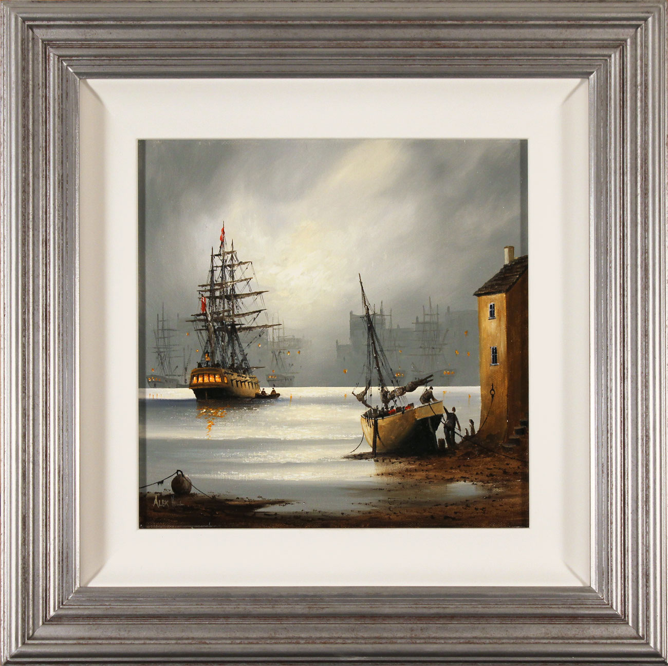 Alex Hill, Original oil painting on canvas, Moonlight Harbour. Click to enlarge