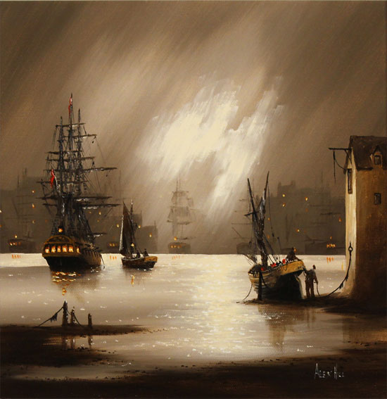 Alex Hill, Original oil painting on canvas, Harbour Fog No frame image. Click to enlarge