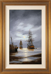 Alex Hill, Original oil painting on panel, Leaving Harbour Large image. Click to enlarge