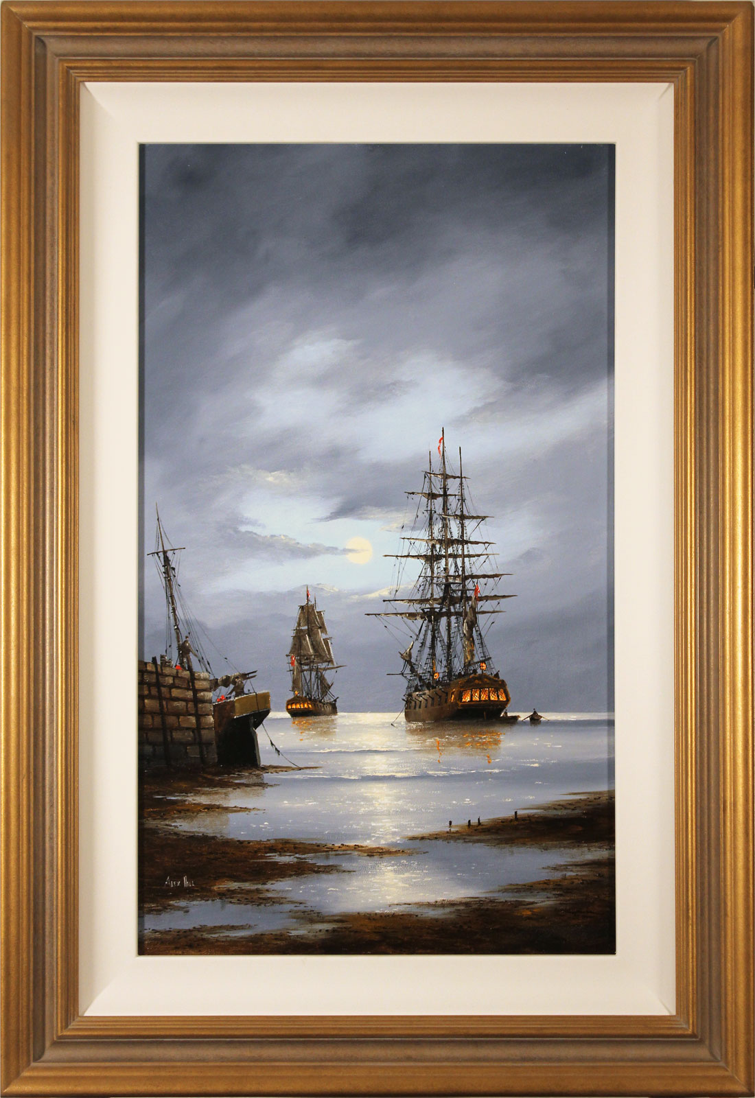 Alex Hill, Original oil painting on panel, Leaving Harbour, click to enlarge