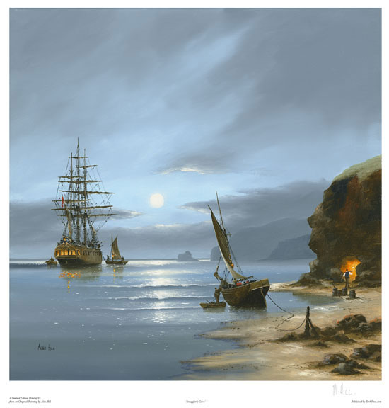 Alex Hill, Signed limited edition print, Smuggler's Cove No frame image. Click to enlarge