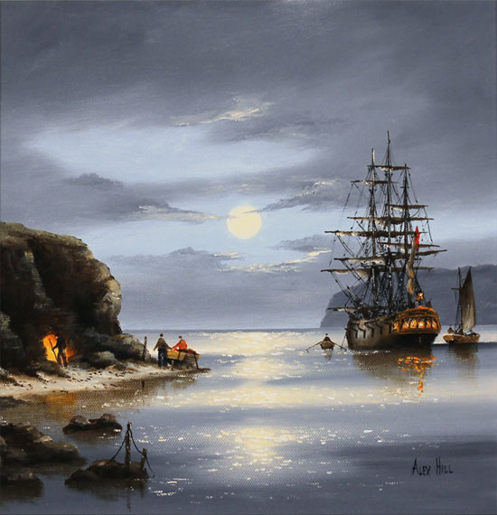 Alex Hill, Original oil painting on canvas, Moonlight Cove No frame image. Click to enlarge