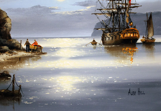 Alex Hill, Original oil painting on canvas, Moonlight Cove Signature image. Click to enlarge