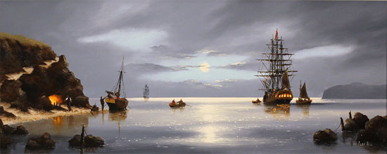 Alex Hill, Original oil painting on canvas, Smuggler's Cove Without frame image. Click to enlarge