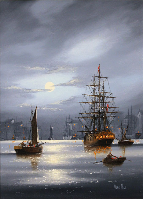 Alex Hill, Original oil painting on panel, Harbour Lights No frame image. Click to enlarge