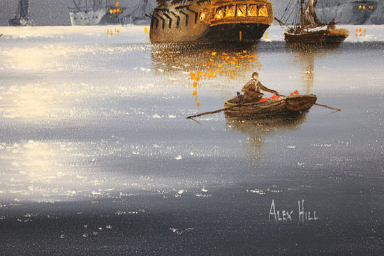 Alex Hill, Original oil painting on panel, Harbour Lights Signature image. Click to enlarge