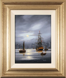 Alex Hill, Original oil painting on panel, Harbour Lights Large image. Click to enlarge