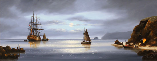 Alex Hill, Original oil painting on canvas, Return to Smuggler's Cove Without frame image. Click to enlarge