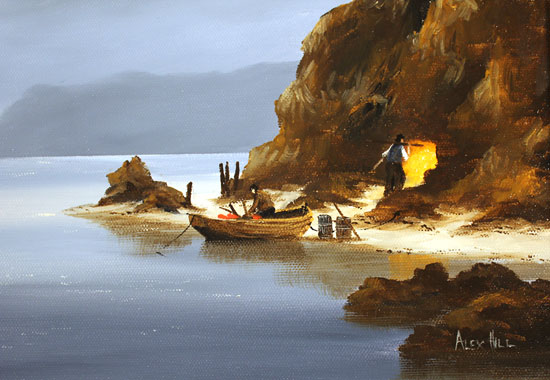 Alex Hill, Original oil painting on canvas, Return to Smuggler's Cove Signature image. Click to enlarge