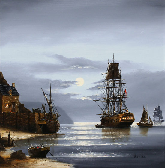 Alex Hill, Original oil painting on canvas, Moonlight Mooring No frame image. Click to enlarge