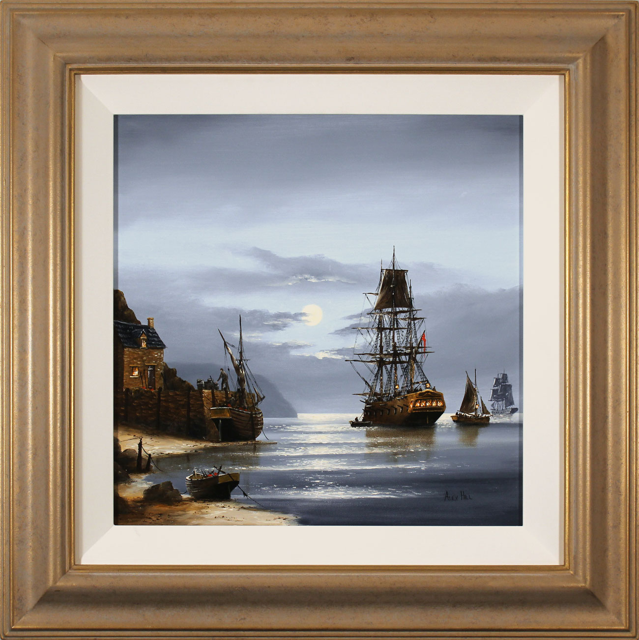 Alex Hill, Original oil painting on canvas, Moonlight Mooring, click to enlarge