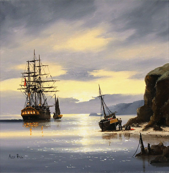 Alex Hill, Original oil painting on canvas, Sunrise Smugglers No frame image. Click to enlarge