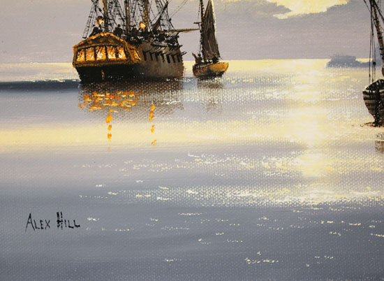 Alex Hill, Original oil painting on canvas, Sunrise Smugglers Signature image. Click to enlarge