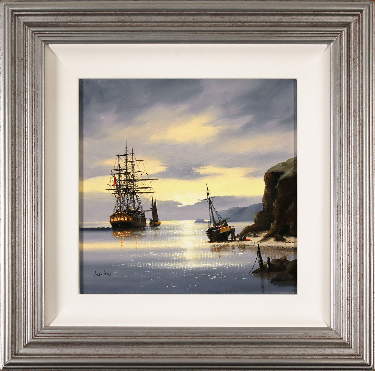 Alex Hill, Original oil painting on canvas, Sunrise Smugglers. Click to enlarge