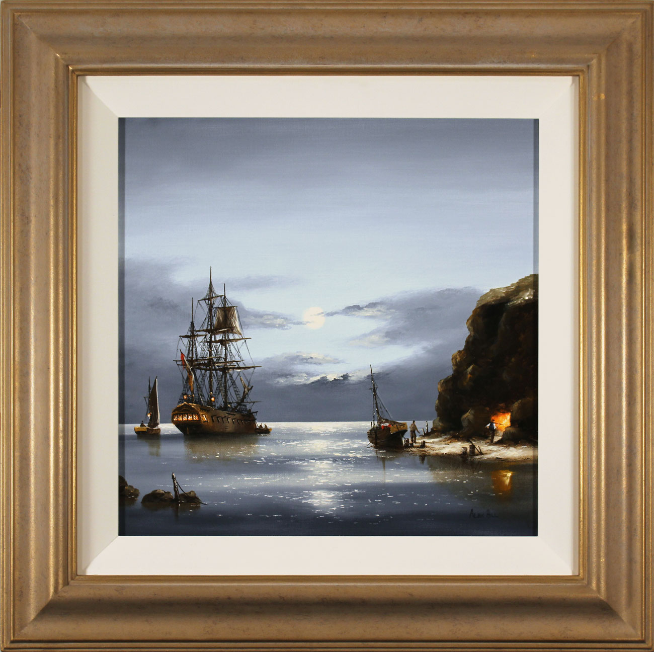 Alex Hill, Original oil painting on canvas, Moonlight Cove. Click to enlarge