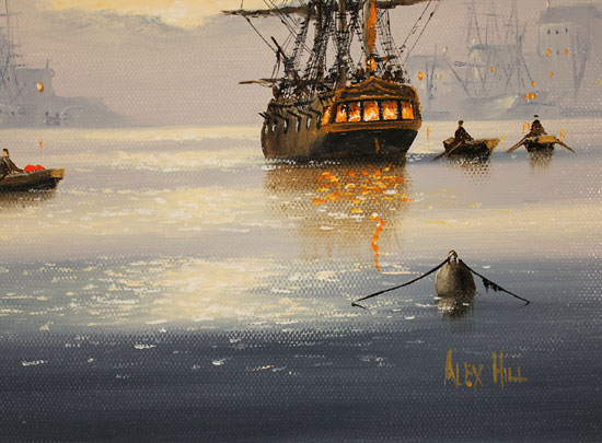 Alex Hill, Original oil painting on canvas, Set Sail at Sunrise Signature image. Click to enlarge