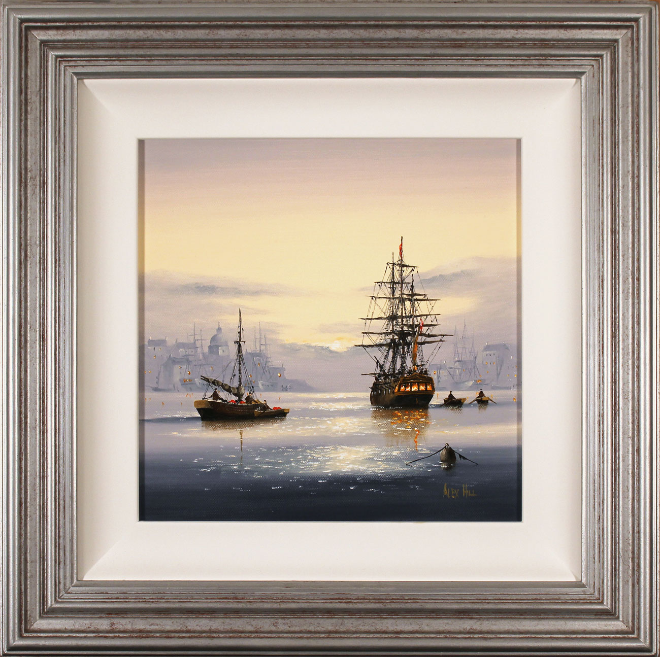 Alex Hill, Original oil painting on canvas, Set Sail at Sunrise, click to enlarge