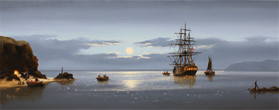 Alex Hill, Original oil painting on canvas, Moonlight Delivery Without frame image. Click to enlarge