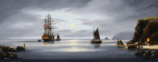Alex Hill, Original oil painting on canvas, Moonlight Smugglers Without frame image. Click to enlarge