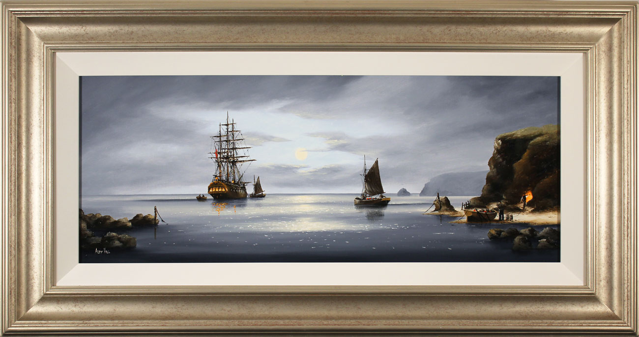 Alex Hill, Original oil painting on canvas, Moonlight Smugglers. Click to enlarge