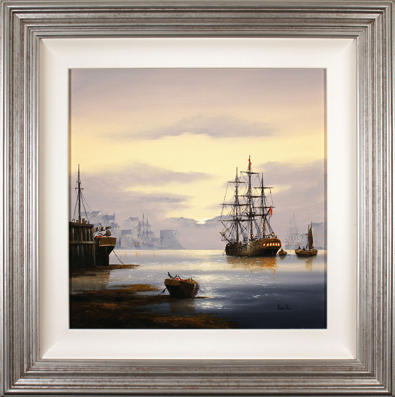 Alex Hill, Original oil painting on canvas, Sunrise Harbour, click to enlarge