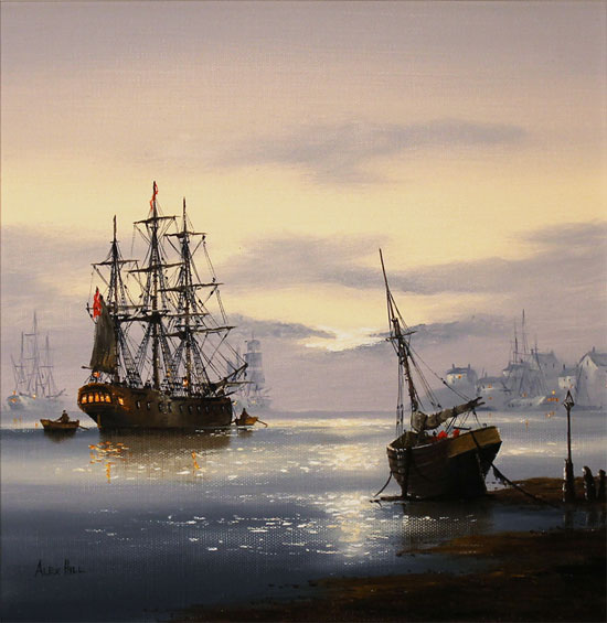 Alex Hill, Original oil painting on canvas, Sunrise Mooring Without frame image. Click to enlarge