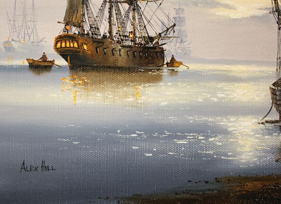 Alex Hill, Original oil painting on canvas, Sunrise Mooring Signature image. Click to enlarge
