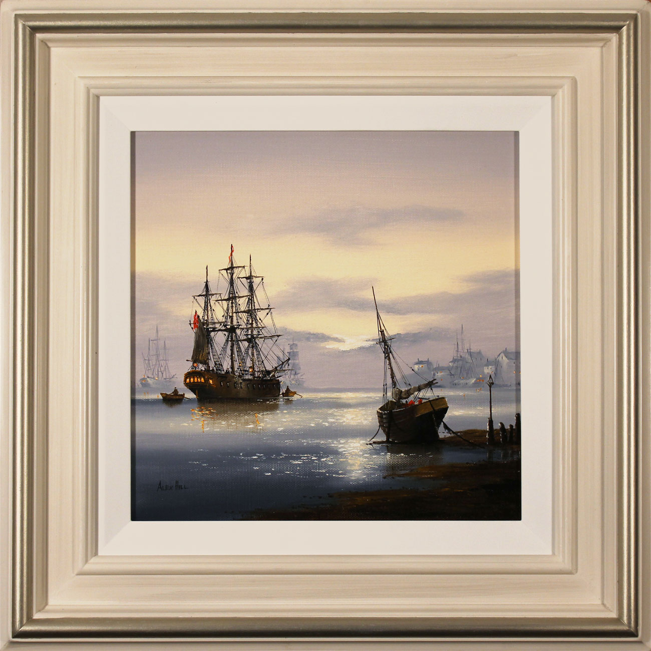 Alex Hill, Original oil painting on canvas, Sunrise Mooring, click to enlarge