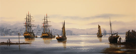 Alex Hill, Original oil painting on canvas, Set Sail at Sunrise  Without frame image. Click to enlarge