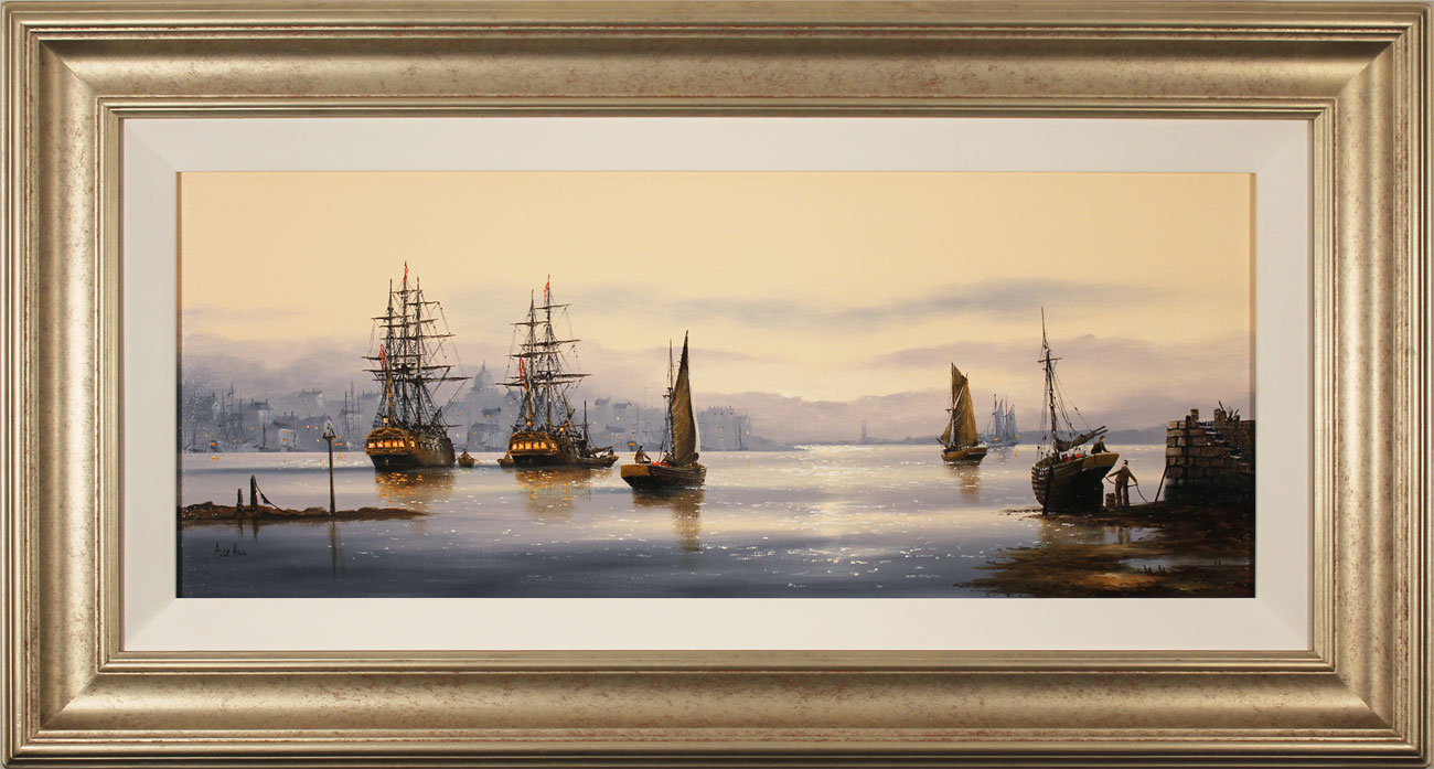 Alex Hill, Original oil painting on canvas, Set Sail at Sunrise . Click to enlarge
