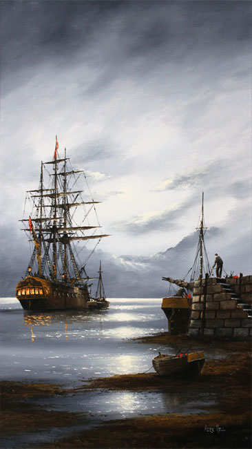 Alex Hill, Original oil painting on panel, Moonlight Mooring Without frame image. Click to enlarge
