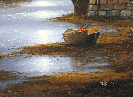 Alex Hill, Original oil painting on panel, Moonlight Mooring Signature image. Click to enlarge