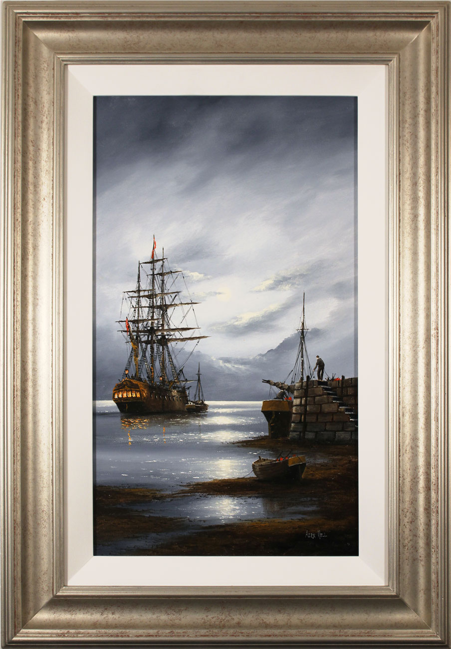 Alex Hill, Original oil painting on panel, Moonlight Mooring. Click to enlarge