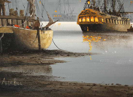 Alex Hill, Original oil painting on panel, Moonlight Harbour Signature image. Click to enlarge