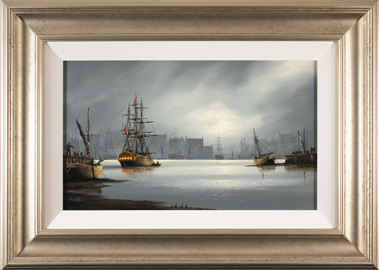 Alex Hill, Original oil painting on panel, Moonlight Harbour, click to enlarge