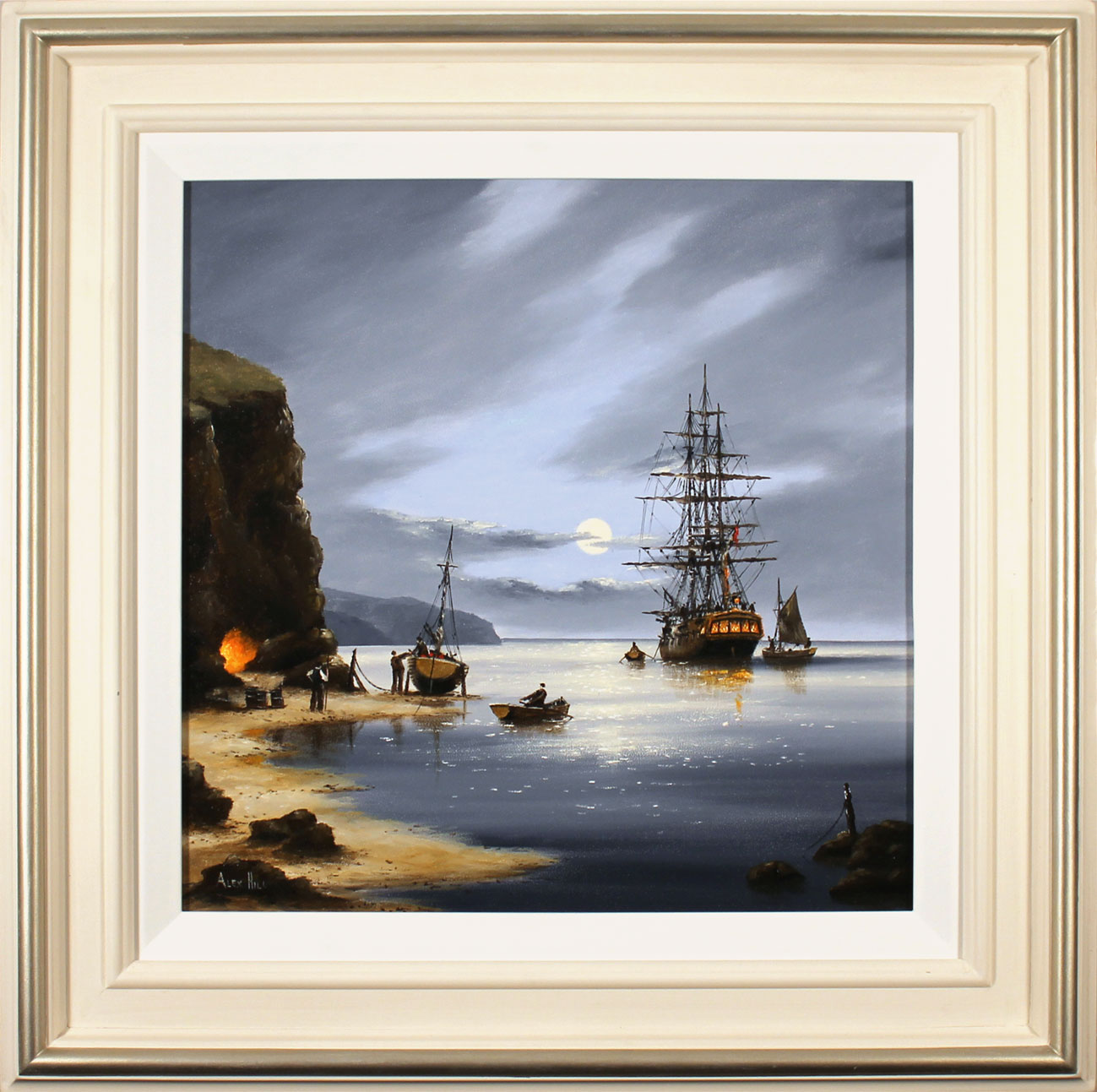 Alex Hill, Original oil painting on panel, Secrets of Moonlight Bay, click to enlarge