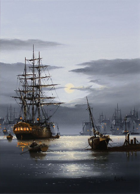 Alex Hill, Original oil painting on canvas, Shining Harbour  Without frame image. Click to enlarge