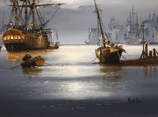 Alex Hill, Original oil painting on canvas, Shining Harbour  Signature image. Click to enlarge